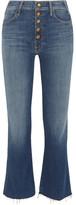 Mother Hustler Cropped Frayed High-rise Flared Jeans - Mid denim