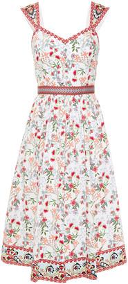 Alice + Olivia Portia Gathered Floral-print Cotton-blend Poplin Midi Dress