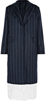 MSGM Lace-trimmed Pinstriped Wool-blend Coat - Navy