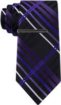 Jf J.Ferrar JF Kyle Plaid Tie with Tie Bar - Slim