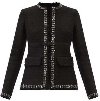 Giambattista Valli Bow-trim Cotton-blend Tweed Jacket - Black
