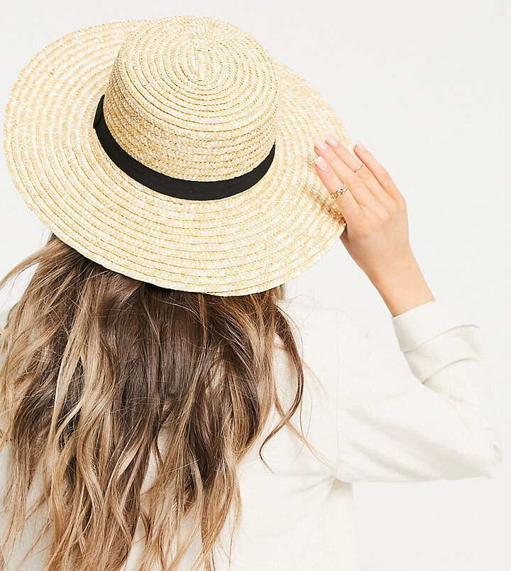 South Beach Exclusive straw boater hat with black ribbon