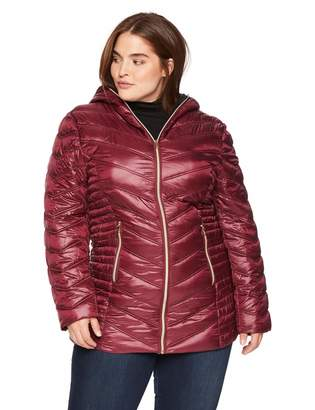 Celsius Women's Plus-Size Lightweight Hip Length Quilted Wellon Jacket Outerwear