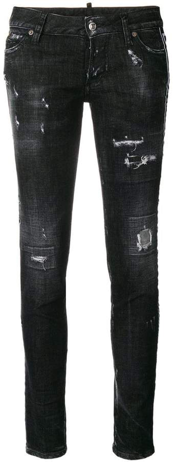 DSQUARED2 distressed logo-stripe jeans