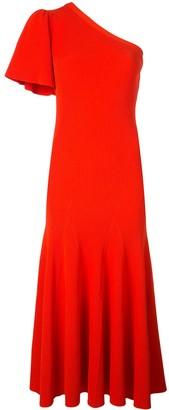 Carolina Herrera one-shoulder flutter sleeve midi dress
