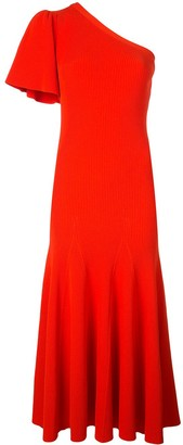 Carolina Herrera One-Shoulder Flutter Sleeve Midi Dress