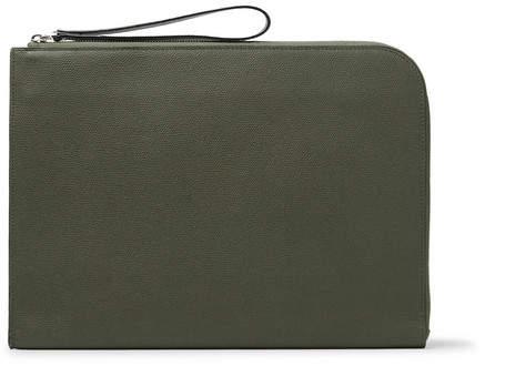 Valextra Pebble-Grain Leather Portfolio - Men - Army green