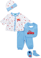 Sweet & Soft Blue Fire Truck Five-Piece Set - Infant