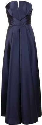 Alberta Ferretti Satin Sweetheart-Neck Gathered Gown