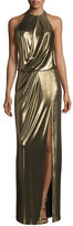 Halston Metallic Halter Column Gown, Bronze