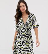 Influence Tall wrap mini dress in zebra print