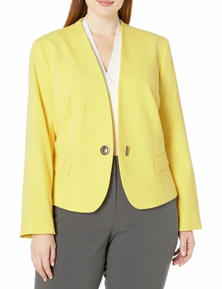 Nine West Women's Plus Size 1 Button V Neck Jacket with Seaming