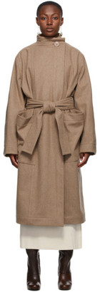 Lemaire Beige Wool Wrapover Coat