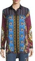Etro Animal Jacquard Button-Front Silk Blouse