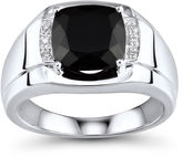 JCPenney FINE JEWELRY Mens Genuine Onyx and Diamond-Accent Sterling Silver Comfort Fit Ring