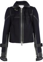Sacai Melton Leather-trimmed Wool Jacket - Navy
