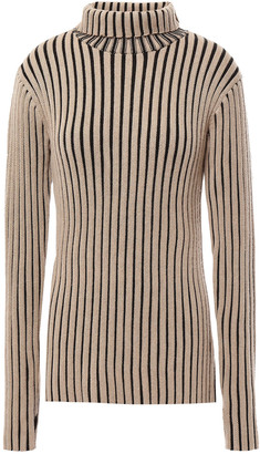 Victoria Victoria Beckham Striped Ribbed Wool Turtleneck Sweater