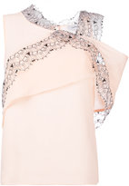 Carven lace trim asymmetric top - women - Silk/Polyester/Acetate - 36