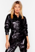 Nasty Gal Womens Faux Leather Waist My Time Belted Jacket - black - 6