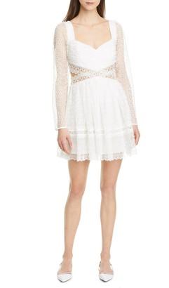 Self-Portrait Cutout Lace Long Sleeve Minidress