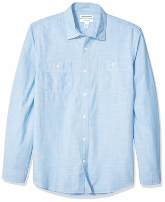 Amazon Essentials Men's Slim-Fit Long-Sleeve Chambray Shirt