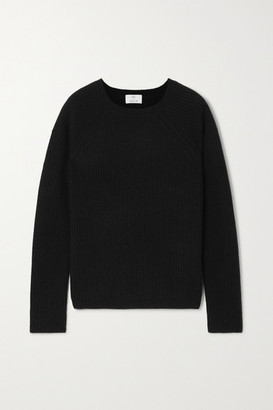 Allude Ribbed Cashmere Sweater - Black