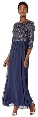 Alex Evenings Long A-Line Dress with Keyhole Cutout Neckline (Navy/Nude) Women's Dress