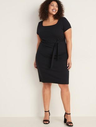 Old Navy Ponte-Knit Secret-Slim Tie-Belt Plus-Size Sheath Dress