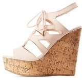 Charlotte Russe Bamboo Lace-Up Cork Wedge Sandals