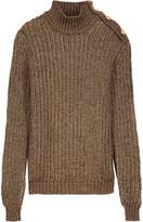 Balmain Metallic open-knit mohair blend turtleneck sweater