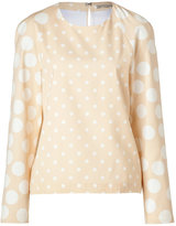 Hakaan Nude/White Dotted Adonide Top