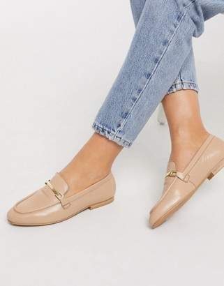 ASOS DESIGN Mariot leather chain loafers in taupe
