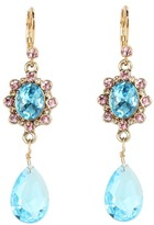 Betsey Johnson Heart and Bow Gem Drop Earrings (Blue) - Jewelry