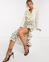 Pretty Lavish midi skirt with ruffle detail in spot print
