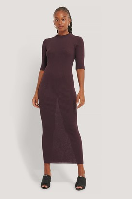 NA-KD 3/4 Sleeve Ribbed Knitted Dress