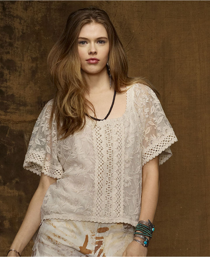 Denim & Supply Ralph Lauren Top, Short-Sleeve Embroidered Mesh