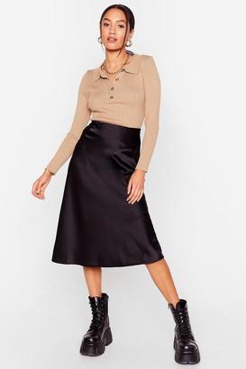 Nasty Gal Womens Just My Type Petite Satin Midi Skirt - Black - 4, Black