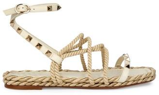 Valentino Rockstud Rope Sandals