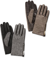 Calvin Klein Zipper Herringbone Leather Gloves