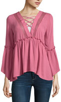 Self Esteem Long Sleeve V Neck Woven Blouse-Juniors