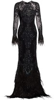 ZUHAIR MURAD Moya Sheer Embellished Feather Gown