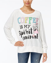 Rampage Juniors' Coffee Oversized Graphic Sweatshirt