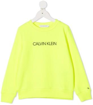Calvin Klein Kids Logo-Print Neon Sweatshirt