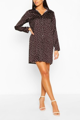 boohoo Satin Polka Dot Shirt Dress