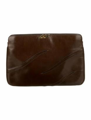 Salvatore Ferragamo Leather Clutch Brown