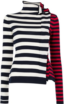 Monse Striped Half & Half Ruffle Jumper