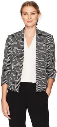 Kasper Women's Metallic Knit Jacquard Flyaway Jacket