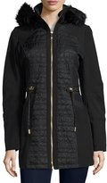 Via Spiga Quilted Hooded Anorak Coat, Black