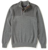 Roundtree & Yorke Big & Tall Mock Snap Textured Sweater