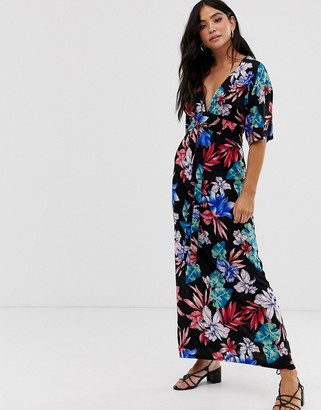 Qed London QED London kimono sleeve maxi dress in floral print-Multi